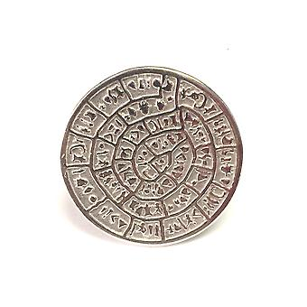 Greek Phaistos Disc Ring In Rhodium Plated Sterling Silver
