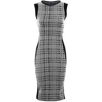 Ladies ermeløse Stripe Zebra sjekk Tartan kneet lengde Midi Bodycon Dress