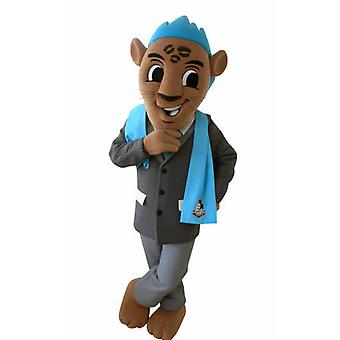 mascot Brown Tiger with a suit and a Blue Ridge SPOTSOUND