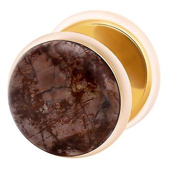 Fake Cheater Ear Plug Gold Plated, Earring, Body Jewellery, Snow Flake Obsidian Stone