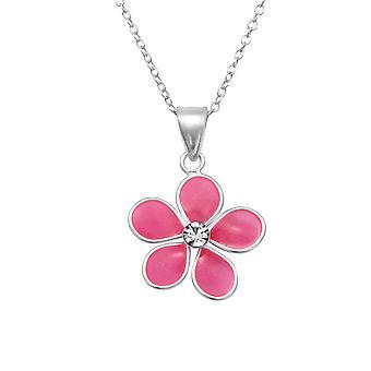 Blomst - 925 sterlingsølv + Epoxy farve halskæder - W28727X