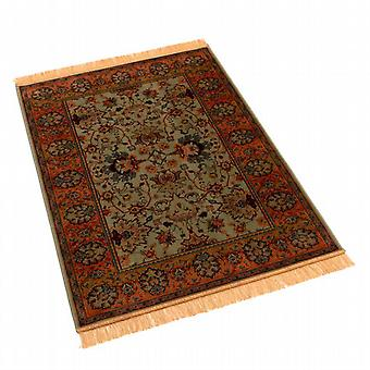 Traditional Green Indian Agra Artificial Faux Silk Effect Rugs 4620/16 100 x 140cm