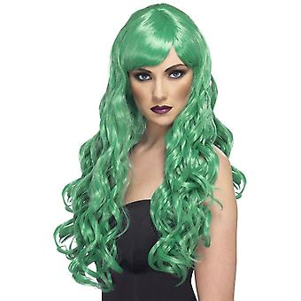 Long Green Wavy Wig, Desire Wig, Green, Long, Curly with Fringe