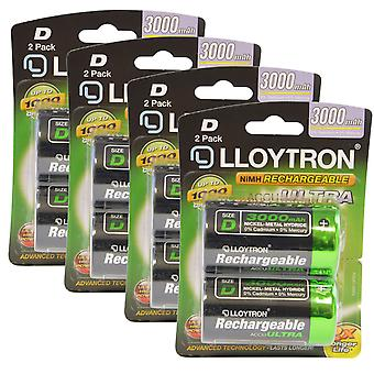 8 x Lloytron Rechargeable AccuUltra D Ni-MH Batteries 3000mAh