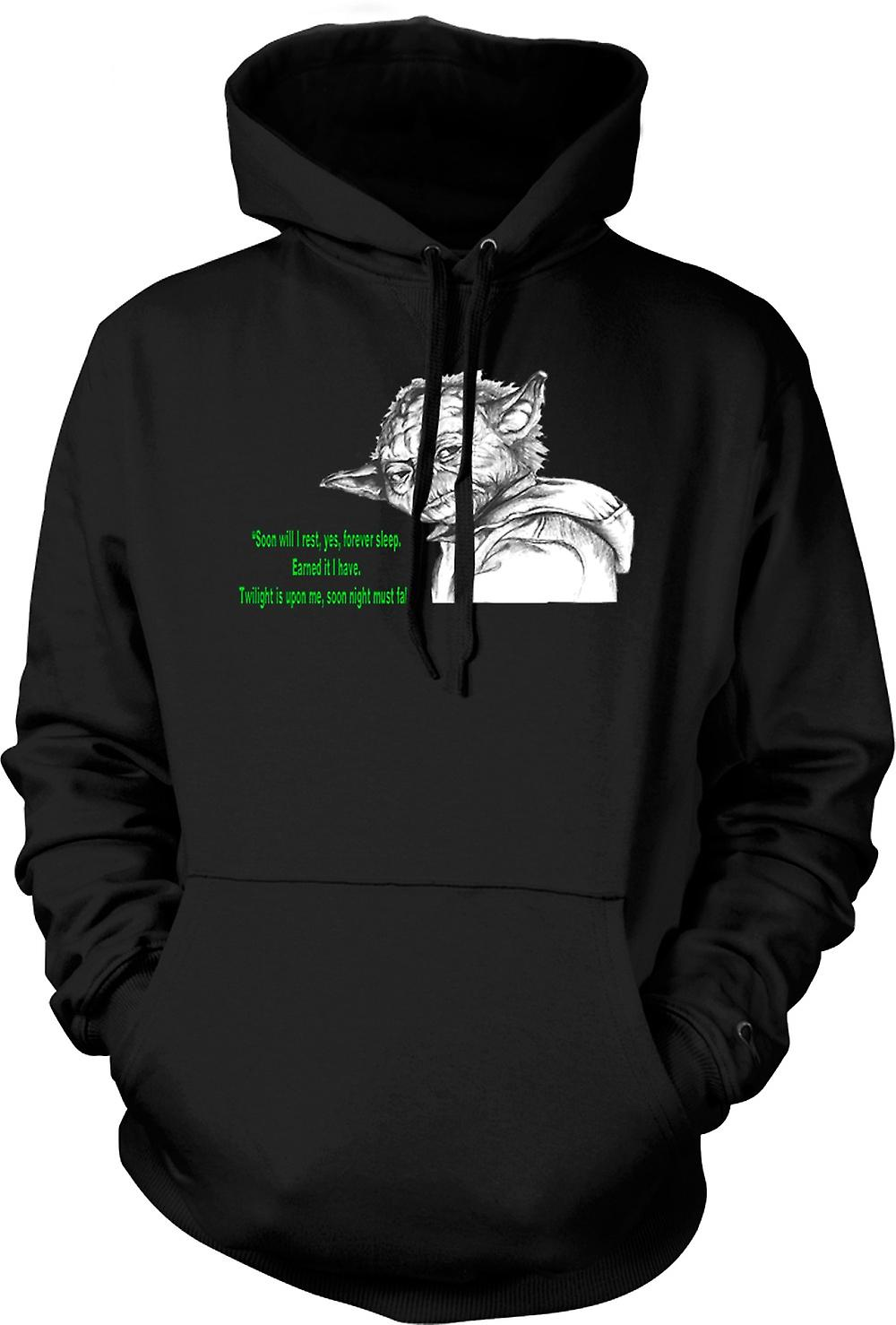 Mens Hoodie - Yoda - Sketch - Soon I Will Rest