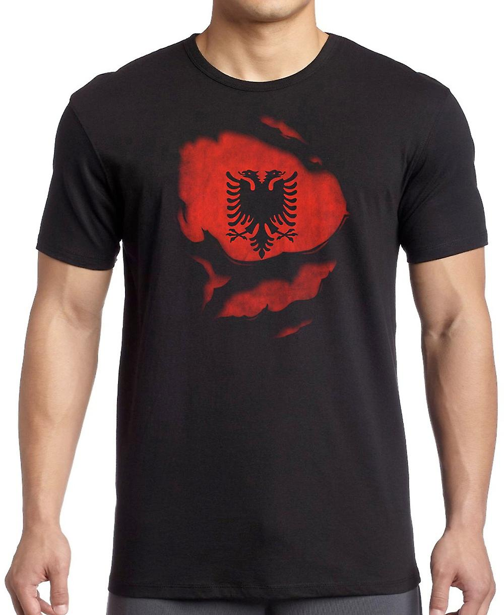 Albanian Albania Ripped Effect Under Shirt Kids T Shirt
