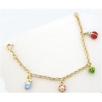 TOC Girls Sterling Silver Goldtone Multicoloured Charm Bracelet 6.5