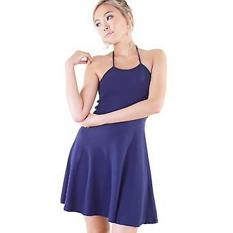 Lovemystyle Navy Blue Jersey Halterneck Skater Dress