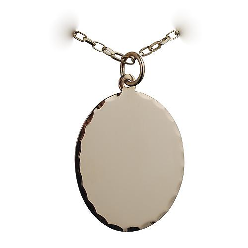 9ct Gold 26x21mm diamond cut edge oval Disc with a belcher Chain 16 inches Only Suitable for Children