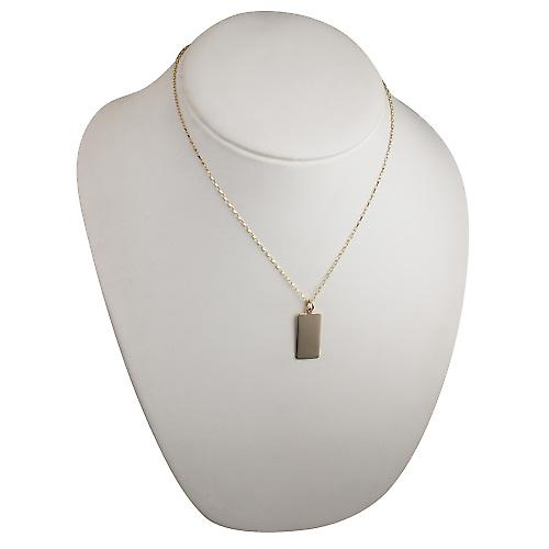 9ct Gold 26x13mm plain rectangular Disc with a belcher Chain 18 inches
