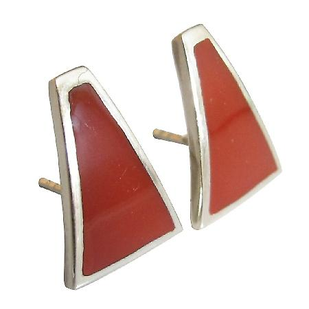 Sterling Silver Inlaid Coral Red Sterling Silver Coral Inlay Earrings