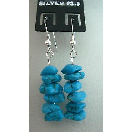 Handmade Custom Sterling Silver Turquoise Nuggets Chips Earrings Gift