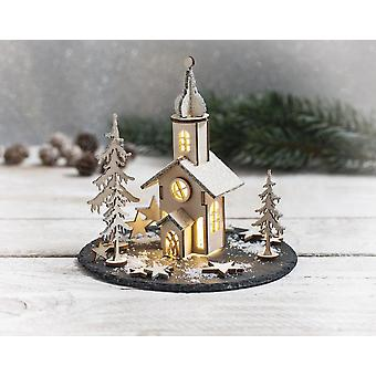 Craft Kit to Create a Wooden Christmas Church Scene   Wooden Christmas Shapes