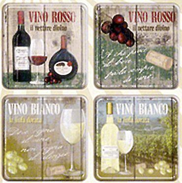 Vino Rosso / Bianco set of four drinks coasters  (na)