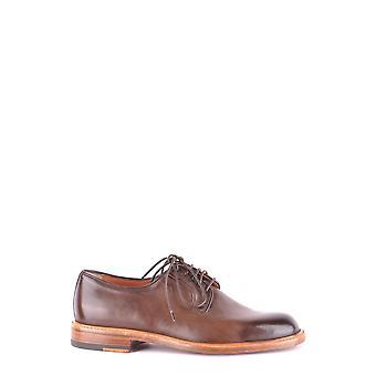 Santoni Brown Leather Lace-up Shoes