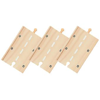 Bigjigs Rail Wooden Long Roadway (Pack of 3) Road Track Expansion Set
