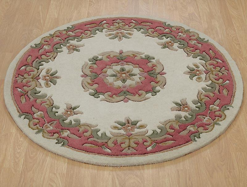 Rugs - Mahal Round - Cream & Rose Pink