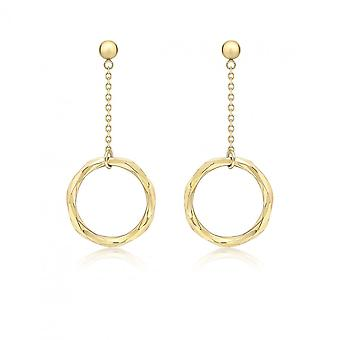 Eternity 9ct Gold Diamond Cut Facet Ring Drop Earring