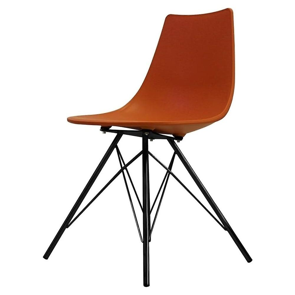 Fusion Living Iconic Orange Plastic Dining Chair With noir Metal Legs