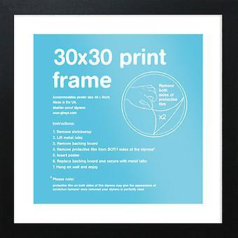 Eton schwarz Rahmen 30 x 30cm Poster / Frame drucken