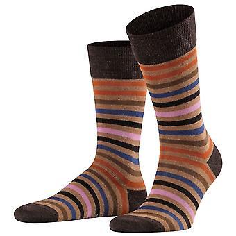 Falke getönte Streifen Socken - Canvas Braun/Orange