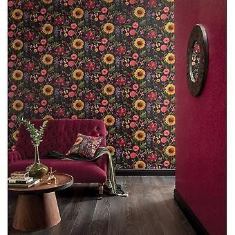 Arthouse sommerhave multi farve blomst solsikke Butterfly Bladmotiv tapet 676203