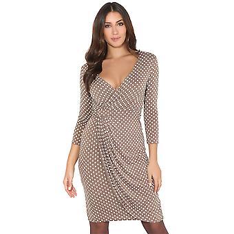 KRISP Womens fit polka dot Swing jurk laag gesneden verzameld taille 3/4 mouw wrap