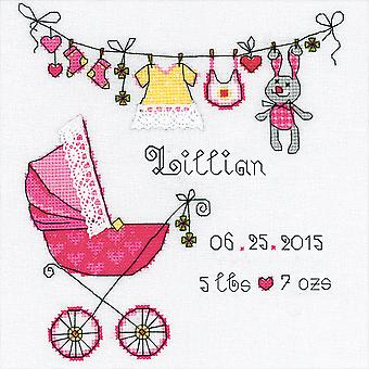 It's A Girl! Birth Record Counted Cross Stitch Kit 8