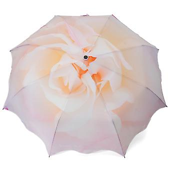 Umbrella automatic Pocket umbrella beige rose motif