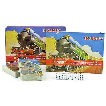 Hornby Trains Playing Cards / Dice Games set in a tin with games booklet (rf)