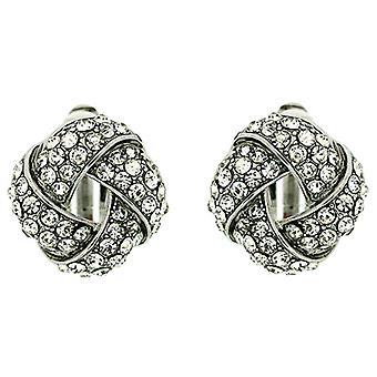 Clip On Earrings Store Silver and Clear Crystal Round Knot Clip on Earrings