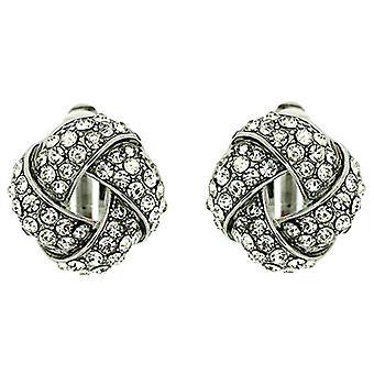 Clip auf Ohrringe Store Silber und klar Crystal Runde Knoten Clip auf Ohrringe