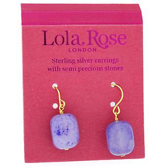 Lola rosa aleta aretes Aqua púrpura Ágata