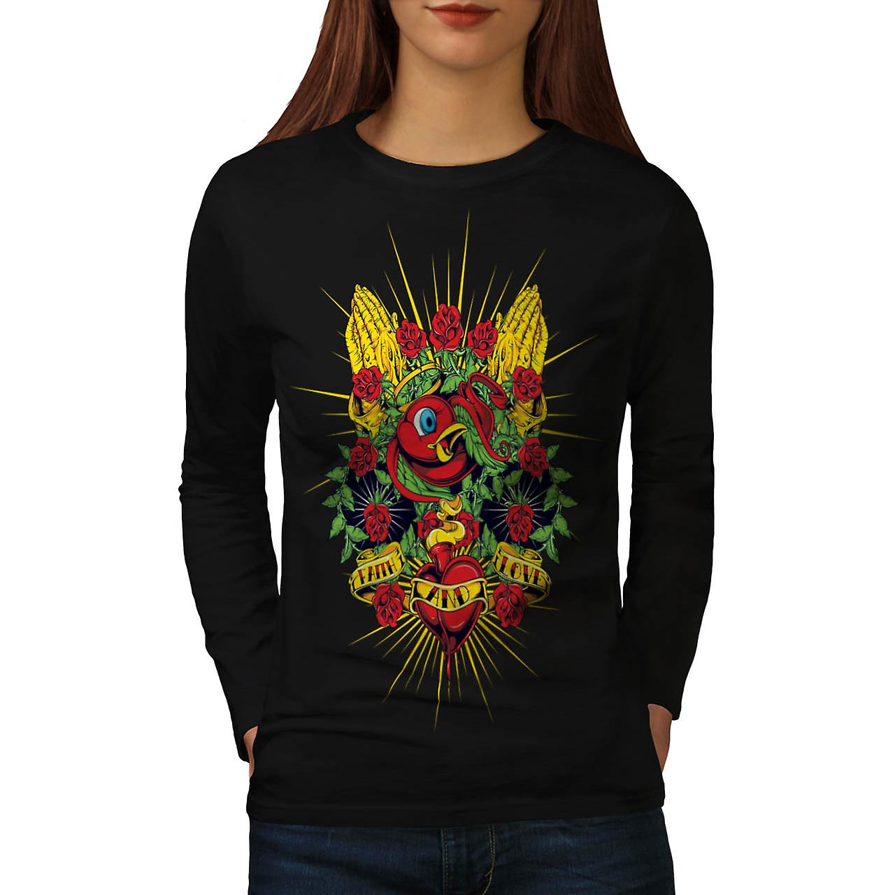 Faith And Love Pray Heart Beats Women Black Long Sleeve T-shirt | Wellcoda