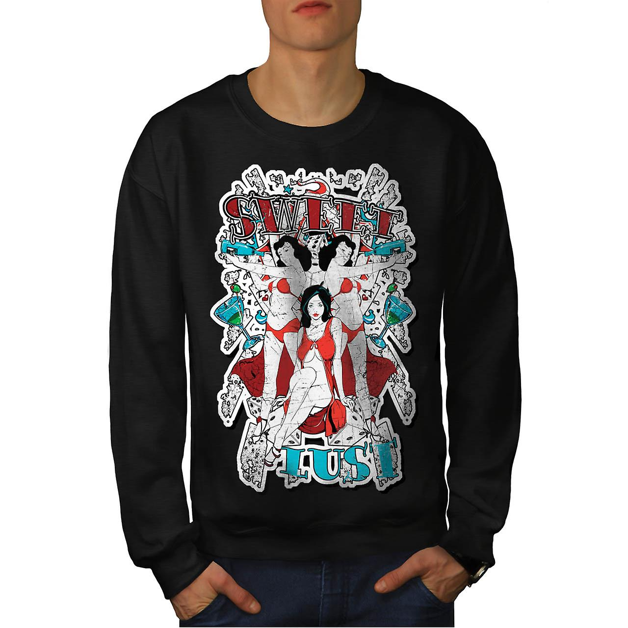 Sweet Lust Casino Bet Seduction Men Black Sweatshirt | Wellcoda