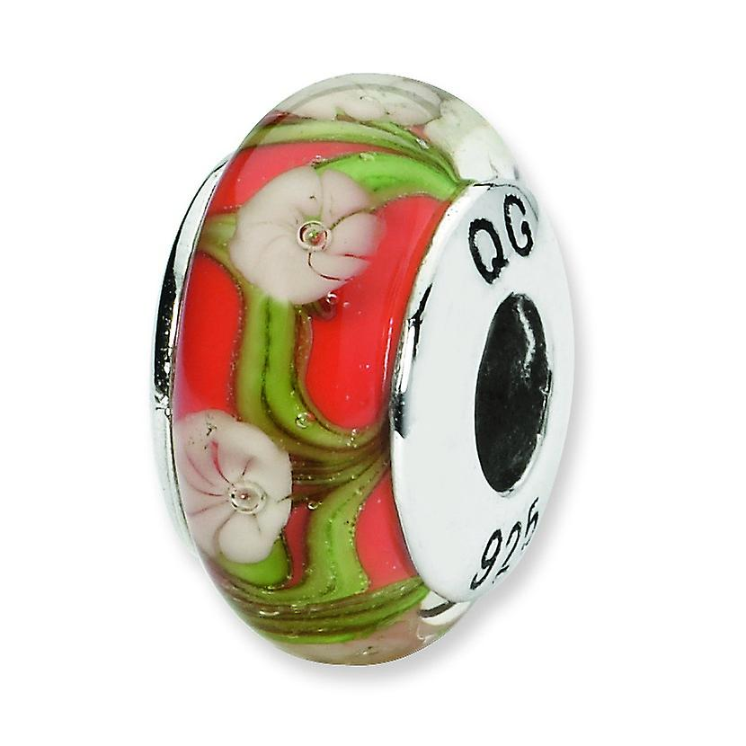 Sterling Silver Reflections Red White Floral Hand-blown Glass Bead Charm