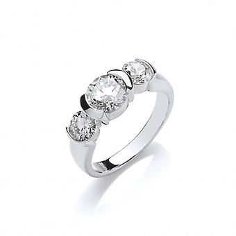 Cavendish French Silver and CZ Triple Solitaire Ring