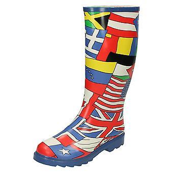 Lugar de las mujeres en mundo bandera diseño Wellington botas