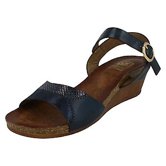Ladies Down To Earth Mid Wedge Mule Sandals F10682