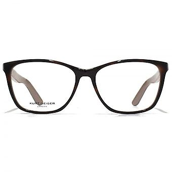Kurt Geiger Ezra Large Acetate Rectangle Glasses In Tortoiseshell