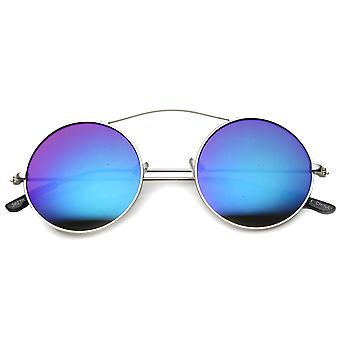 Unisex Round Sunglasses With UV400 Protected Mirrored Lens