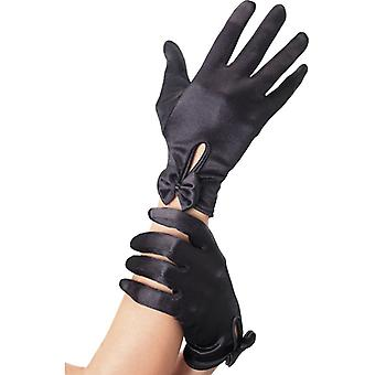Black gloves with bow