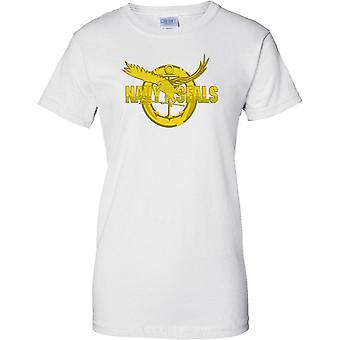 Navy Seals Gold Insignia - US Naval Special Forces - Damen T Shirt