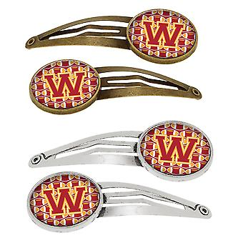 Letter W Football Cardinal and Gold Set of 4 Barrettes Hair Clips