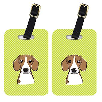 Pair of Checkerboard Lime Green Beagle Luggage Tags