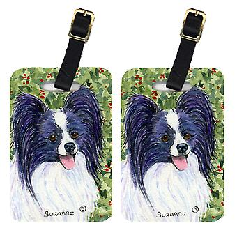 Carolines Treasures  SS8811BT Pair of 2 Papillon Luggage Tags