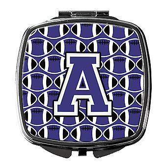Letter A Football Purple and White Compact Mirror