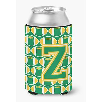 Letter Z Football Green and Gold Can or Bottle Hugger