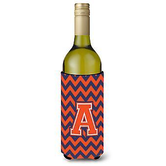 Lettre A Chevron Orange bouteille de vin bleu boisson isolateur Hugger