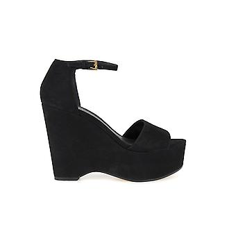 MICHAEL KORS CLAIRE MID WEDGE BLACK SANDALS